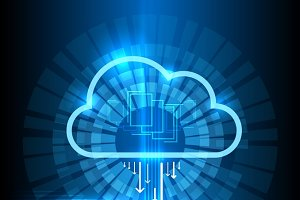 Cloud technology blue background