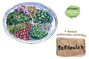 Watercolor Mediterranean food set-2
