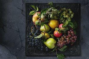 Variety of autumn fruits