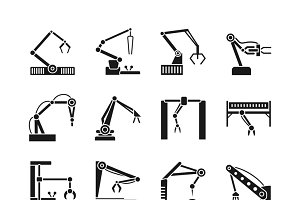 Robot arm icons