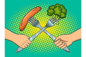 Fight on forks pop art vector illustration