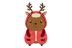 Cute deer in winter coat