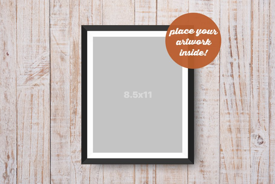 Hanging Frame Mockup on Wooden Wall