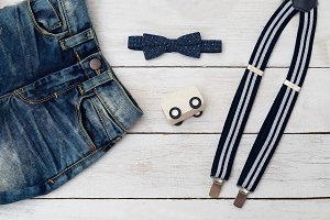 Clothes for little boy. flat lay