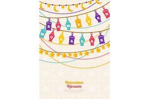 Ramadan Kareem banner with Traditional Lanterns