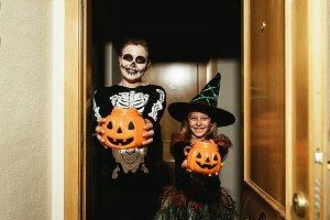 Happy children disguised. Halloween