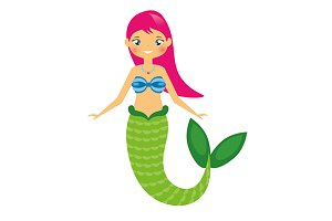 Cute mermaid with pink hair