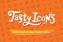 500 hand-drawn food icons