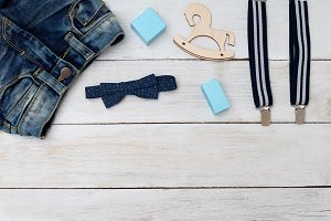 accessories of blue for a little boy