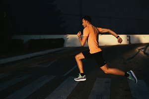 Man running in the city.