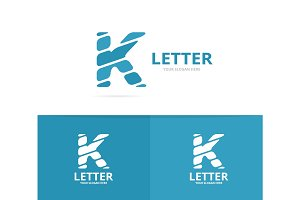 Unique vector letter K logo design template.