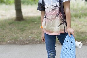 Girl with her skateboard
