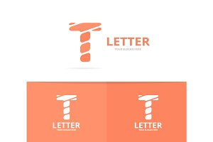 Unique vector letter T logo design template.