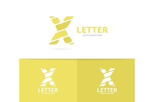 Unique vector letter X logo design template.