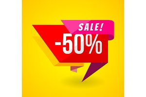 Limited Offer Mega Sale banner. Sale poster. Big sale, special offer, discounts, 50% off. Vector illustration