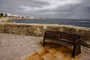 rusty bench on the coast of A Coruña