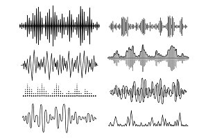 Vector sound waves set. Audio Player. Audio equalizer technology, pulse musical. Vector illustration
