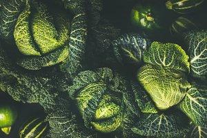 Raw fresh green cabbage background