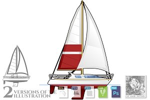 Illustration of Sailing yacht