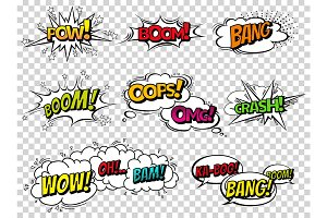 Comic book sound effect speech bubbles, expressions. Collection vector bubble icon speech phrase, cartoon exclusive font label tag expression, sounds illustration background. Comics book balloon