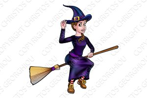 Witch Flying On Broomstick Halloween Character
