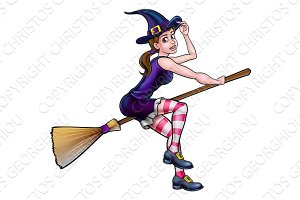 Cartoon Halloween Witch Broomstick