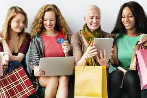 Diverse women is shopping online