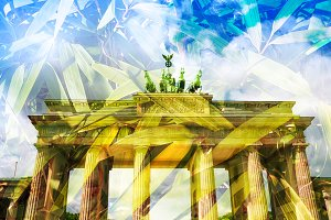 Brandenburg Gate double exposure