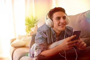 Teen listening music front lights