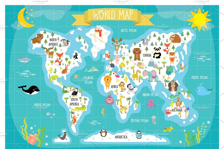Printable World Map For Kids Animal World Map for Kids ~ Illustrations ~ Creative Market
