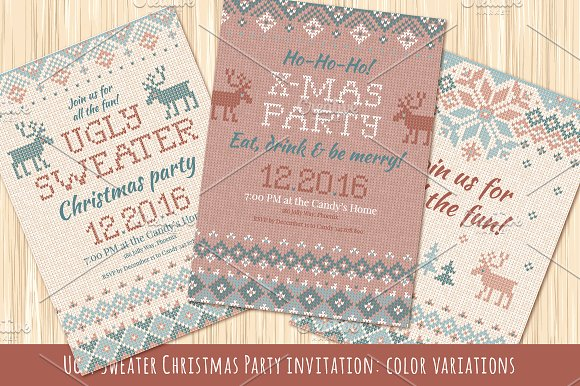 b3e72b21d6039 Ugly Sweater Christmas Party Invite ~ Illustrations ~ Creative Market