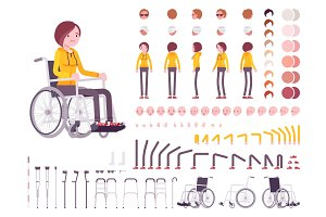 Female young wheelchair user character creation set