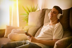 Teenager relaxed listening music