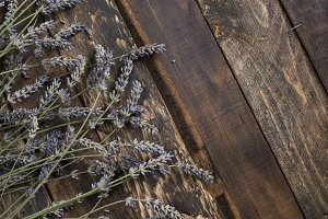 Lavender on rustic wooden background
