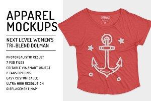 Womens Tri-Blend Dolman Mockups