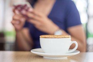 stroopwafel on coffee cafe