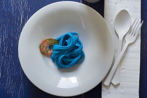 blue spaghetti,blue place setting