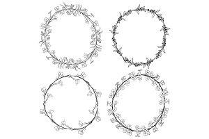 Doodle Floral Wreaths