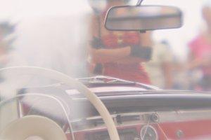 Vintage car passenger