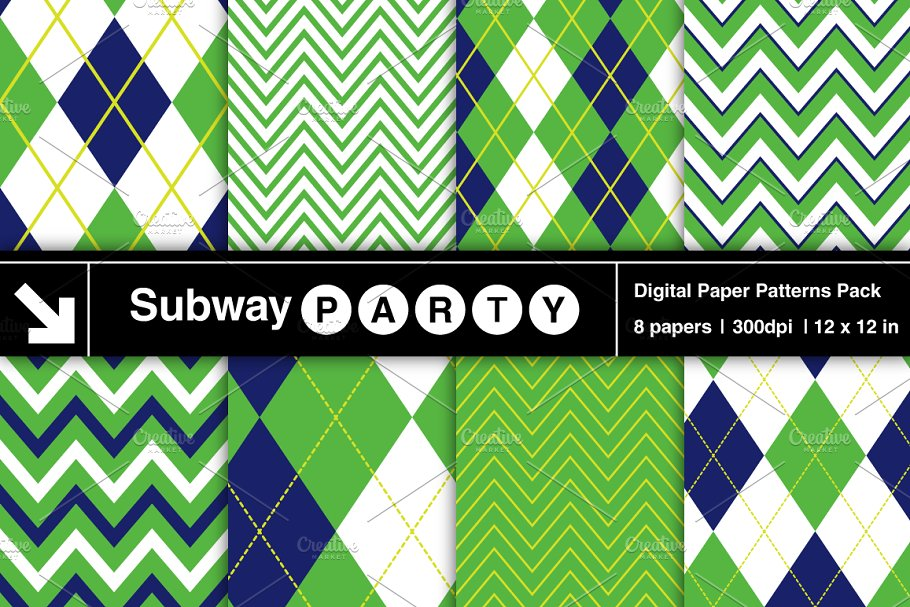 Golf Navy Blue Green Argyle Chevron in Patterns - product preview 8