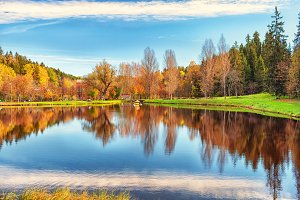 Autumn on the lake with reflection