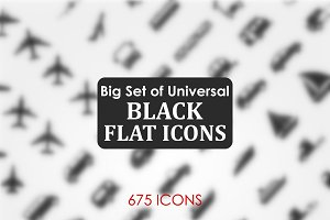 Black flat icon set