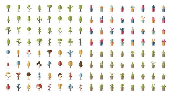 Illustration of plants and tree