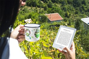 Girl using E-Book Reader, MockUp