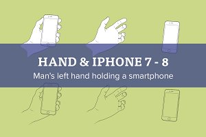 Left hand with Apple iPhone 7 - 8