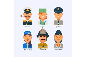 People of different professions on a white background.The secretary,the stewardess,the fireman, the police,the surgeon,the captain.Group people various professions labor day