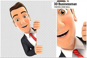 3D Businessman Peeping Over Wall