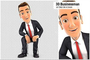 3D Businessman Sitting on a Chair