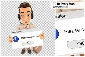 3D Delivery Man Contact Message