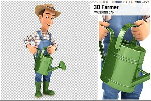 3D Farmer Holding Watering Can